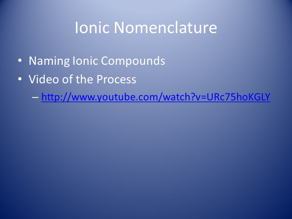 Ionic Nomenclature Naming Ionic Compounds Video of the Process