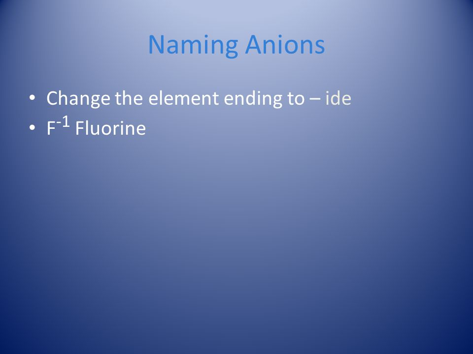 Naming Anions Change the element ending to – ide F-1 Fluorine