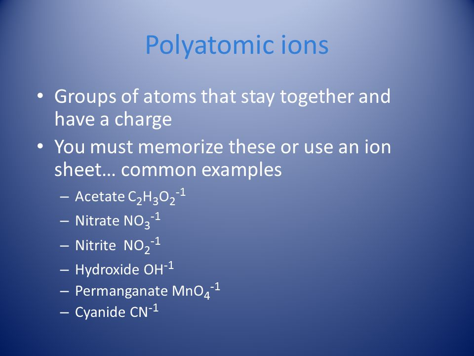 Polyatomic ions Groups of atoms that stay together and have a charge