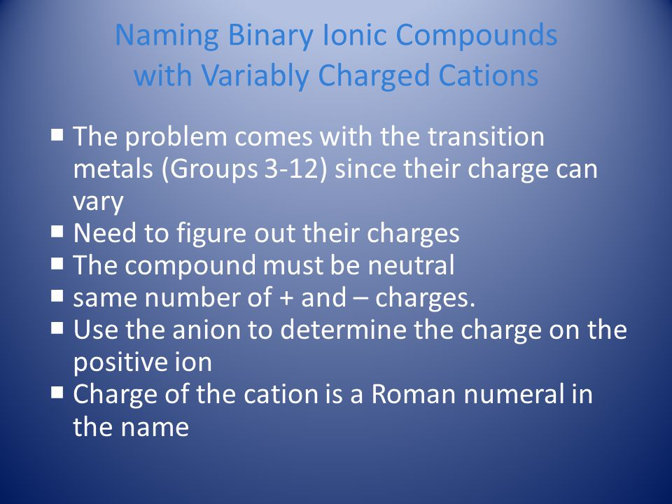 Naming Binary Ionic Compounds with Variably Charged Cations