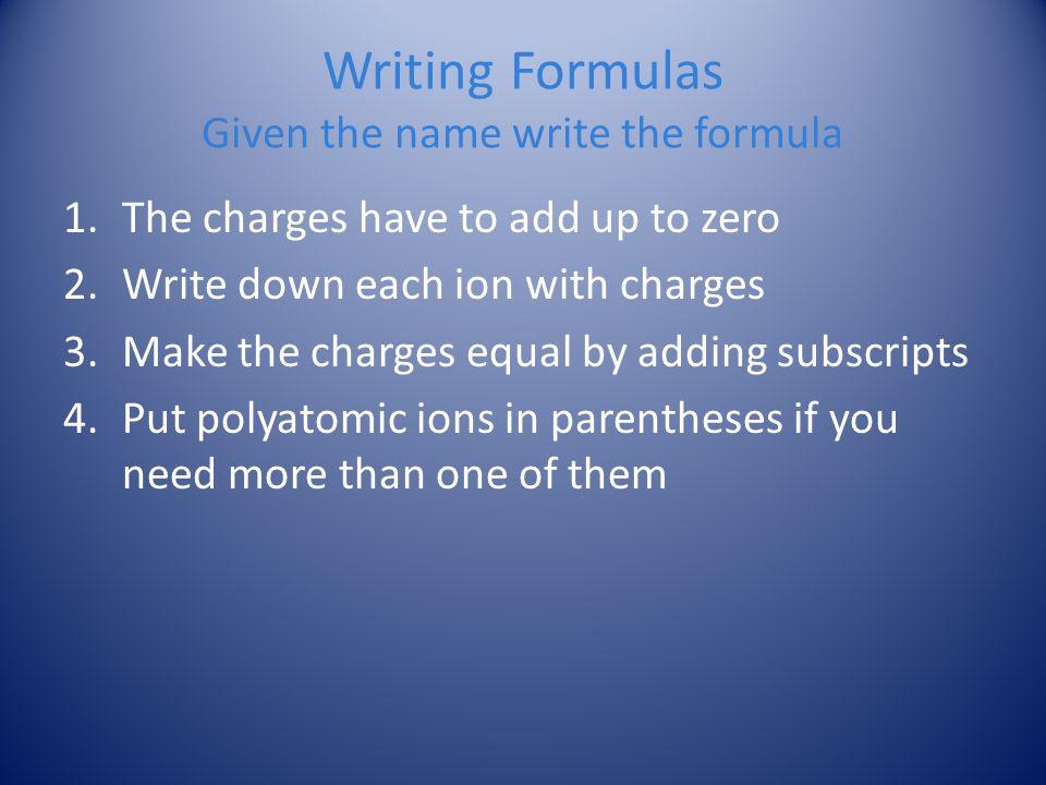 Writing Formulas Given the name write the formula