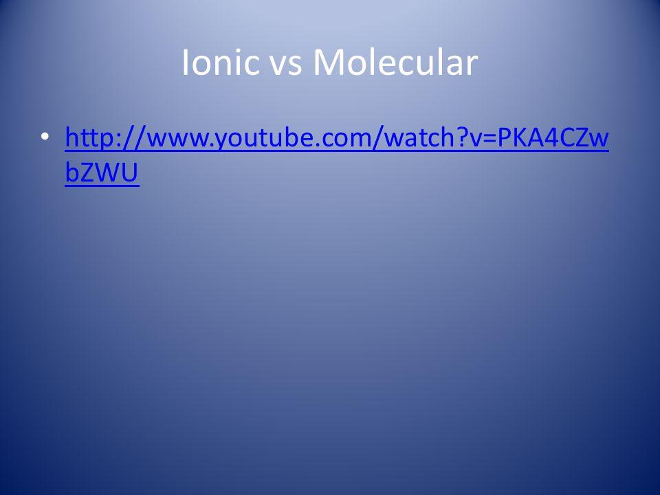 Ionic vs Molecular http://www.youtube.com/watch v=PKA4CZwbZWU
