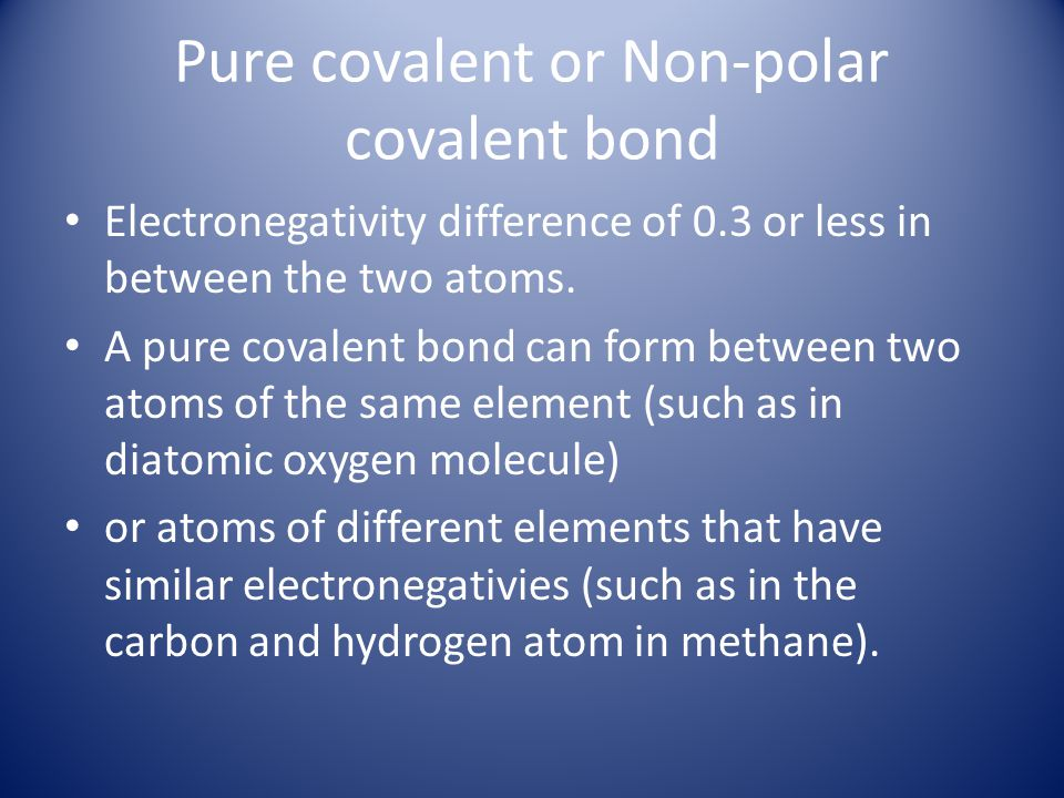 Pure covalent or Non-polar covalent bond