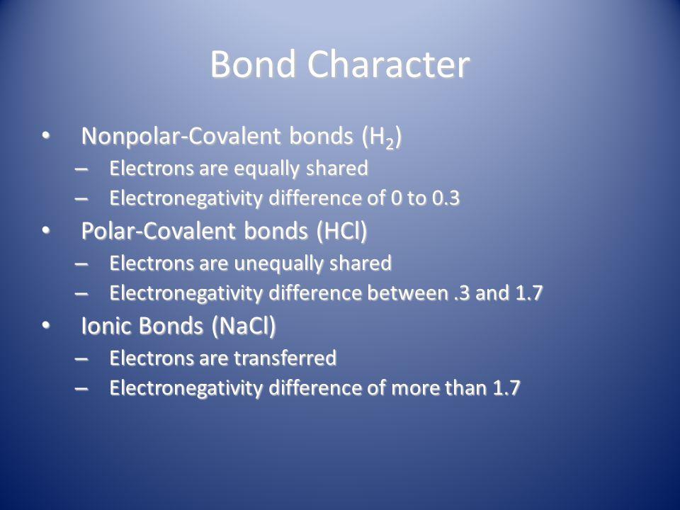 Bond Character Nonpolar-Covalent bonds (H2) Polar-Covalent bonds (HCl)