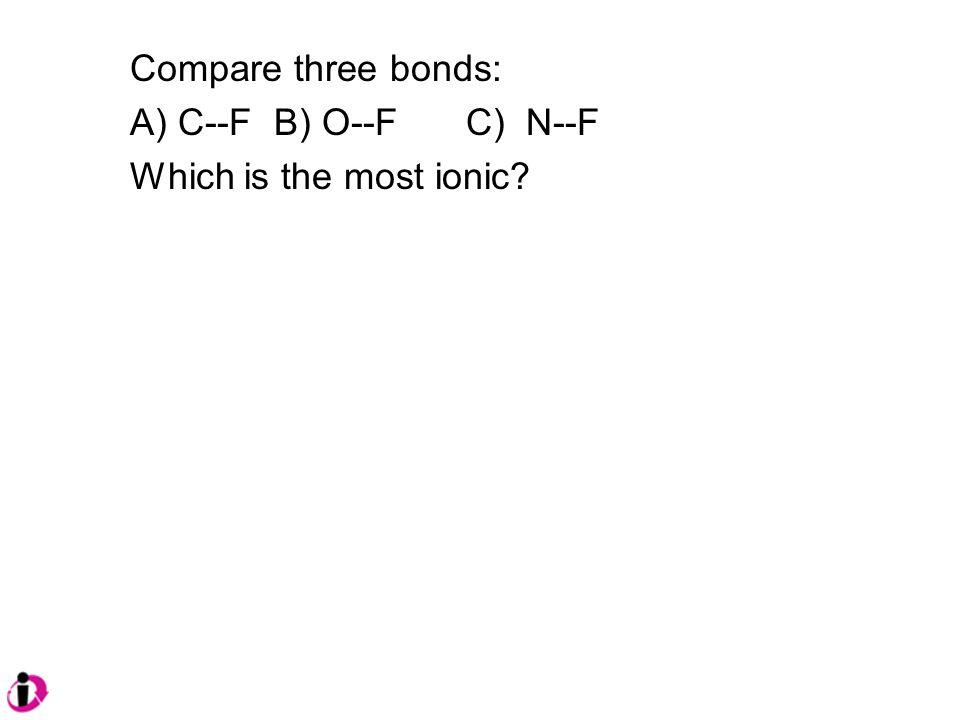 Compare three bonds: A) C--F B) O--F C) N--F Which is the most ionic