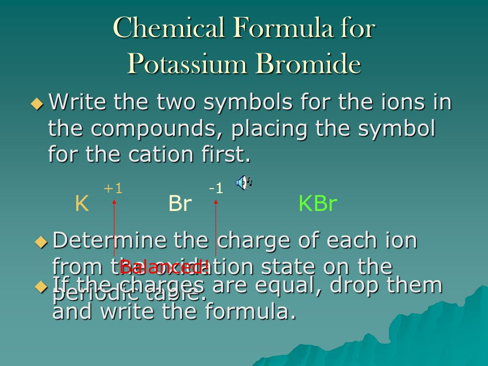 Chemical Formula for Potassium Bromide