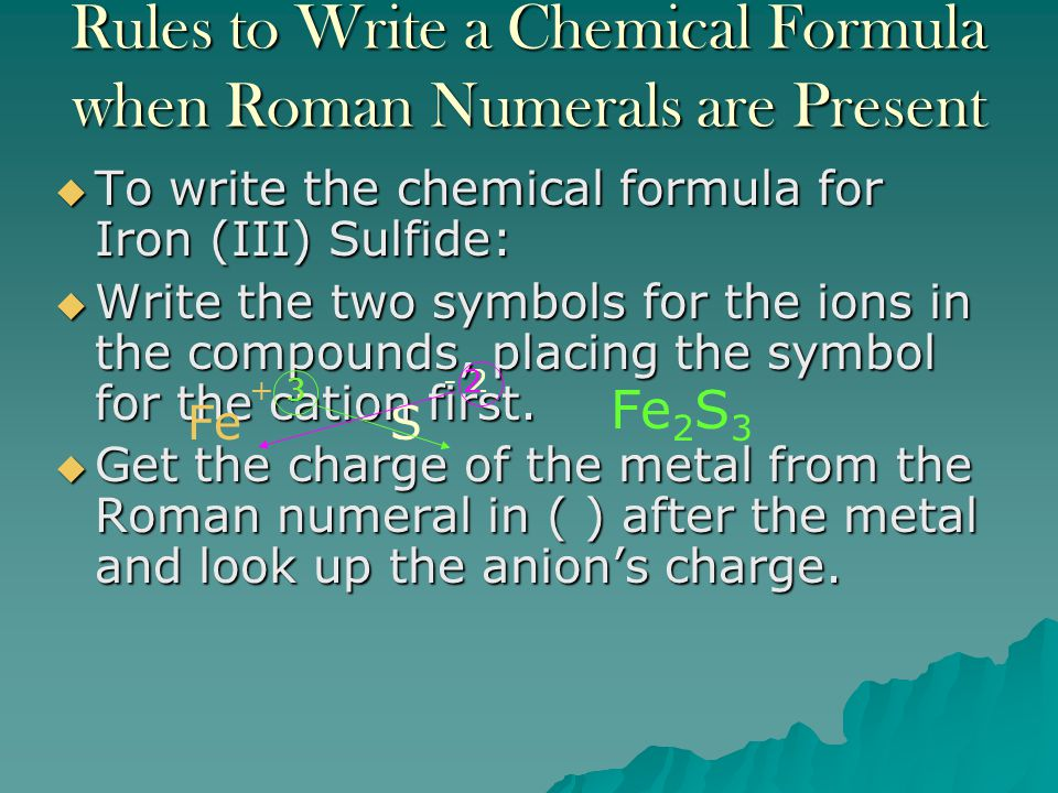 Rules to Write a Chemical Formula when Roman Numerals are Present