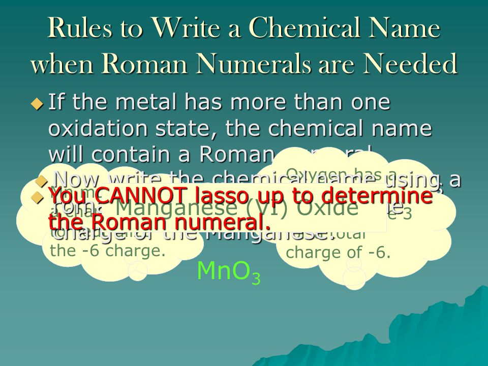 Rules to Write a Chemical Name when Roman Numerals are Needed