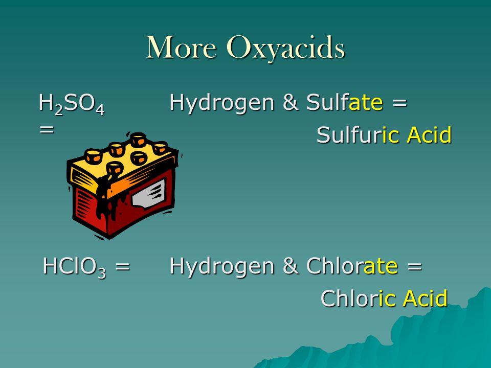 More Oxyacids H2SO4 = Hydrogen & Sulfate = Sulfuric Acid HClO3 =