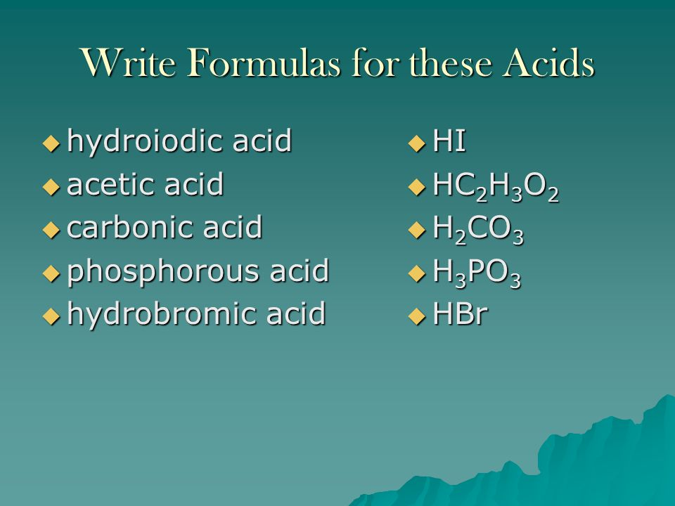 Write Formulas for these Acids
