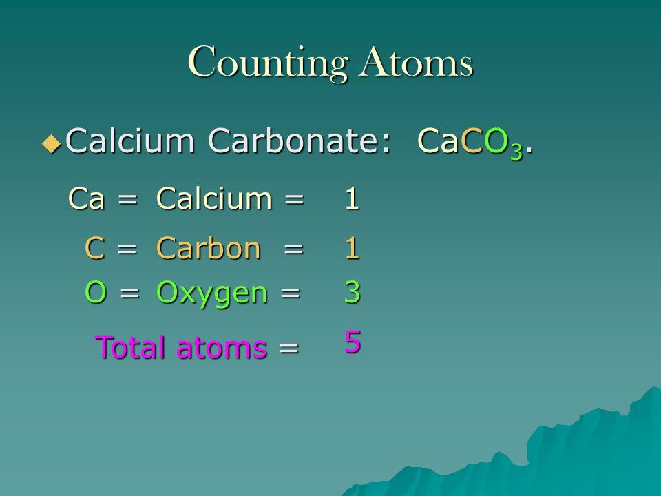 Counting Atoms Calcium Carbonate: CaCO3. Ca = Calcium = 1 C = Carbon =