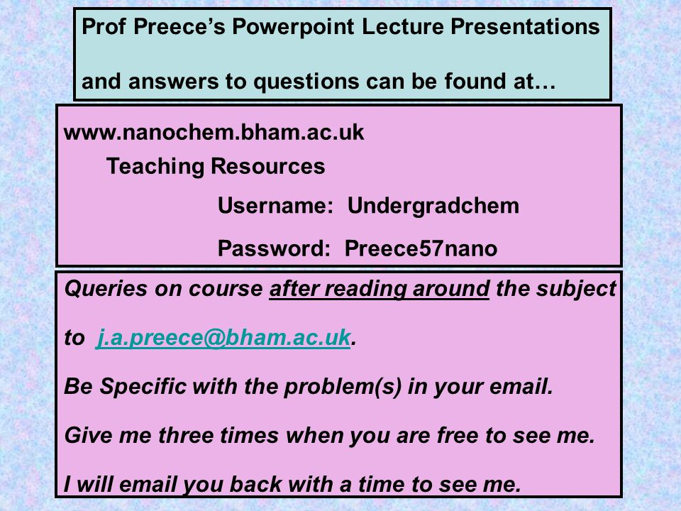 Prof Preece's Powerpoint Lecture Presentations