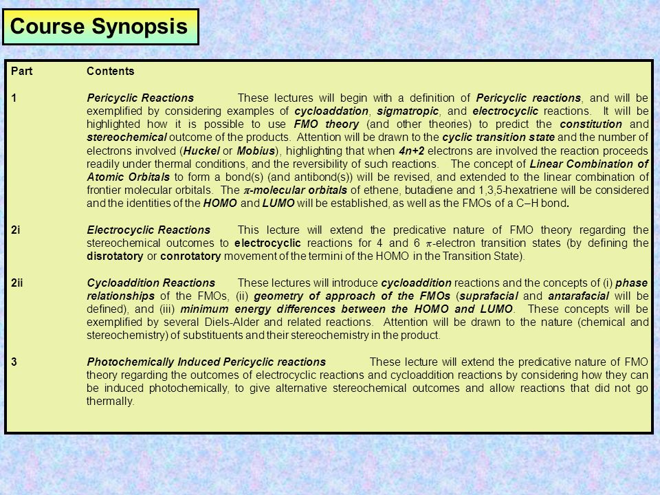 Course Synopsis Part Contents