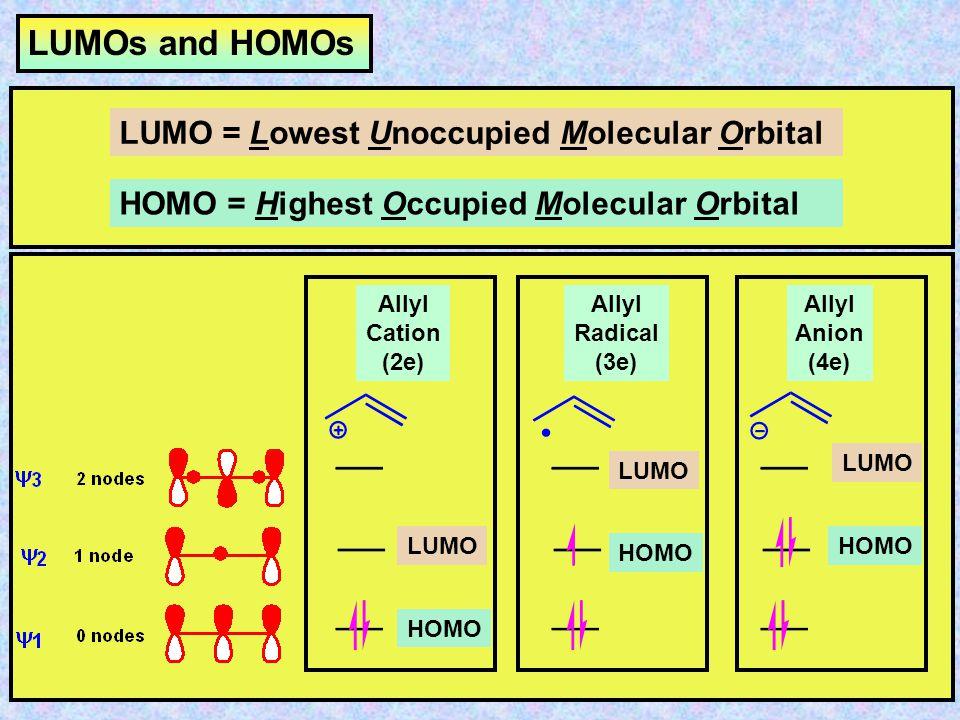 LUMOs and HOMOs LUMO = Lowest Unoccupied Molecular Orbital