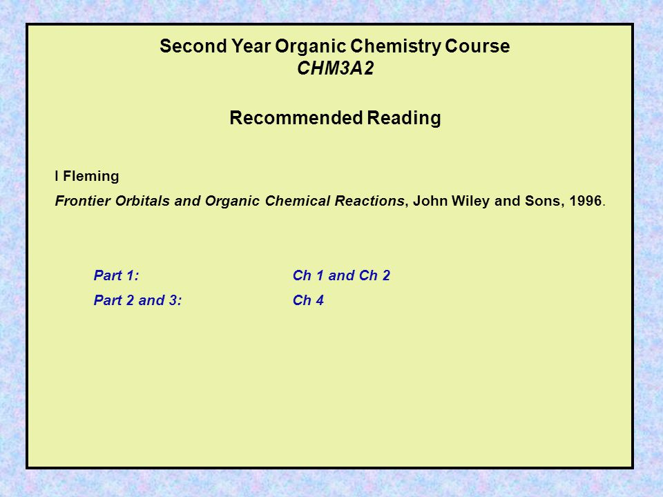 Second Year Organic Chemistry Course