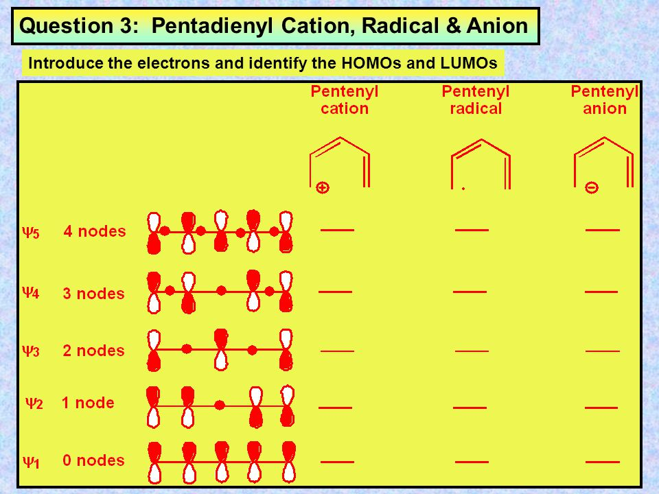 Question 3: Pentadienyl Cation, Radical & Anion