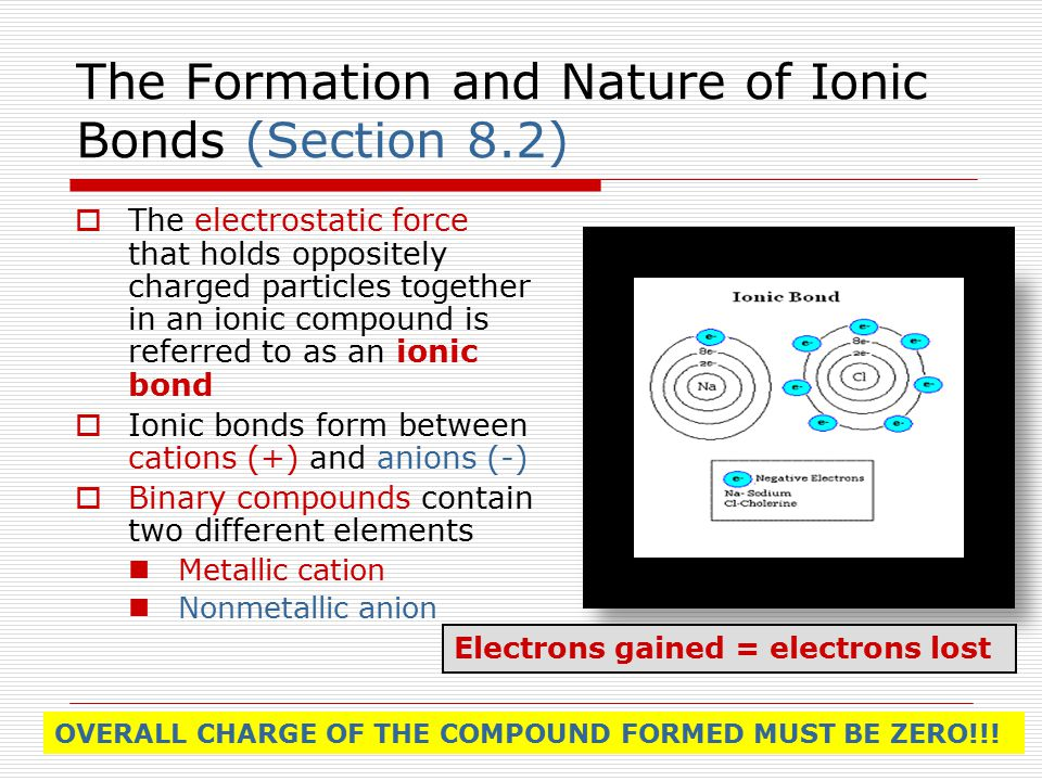 The Formation and Nature of Ionic Bonds (Section 8.2)