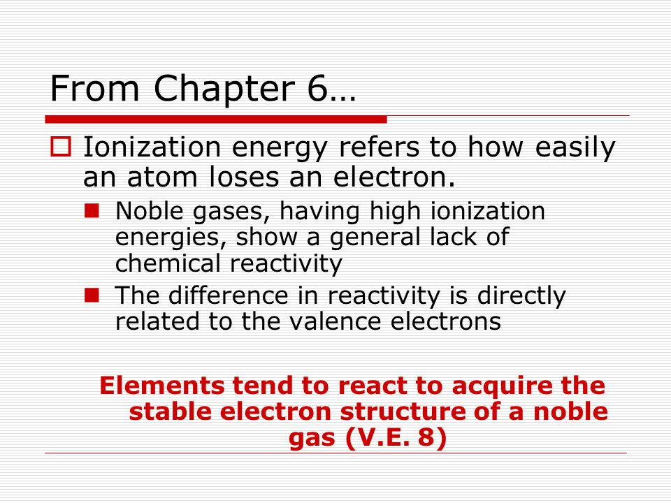 From Chapter 6… Ionization energy refers to how easily an atom loses an electron.