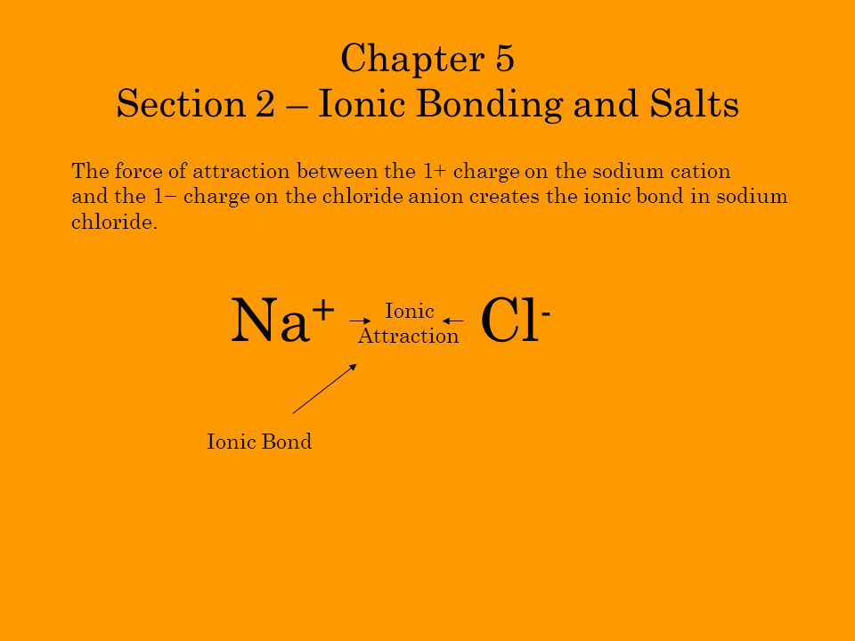 Chapter 5 Section 2 – Ionic Bonding and Salts
