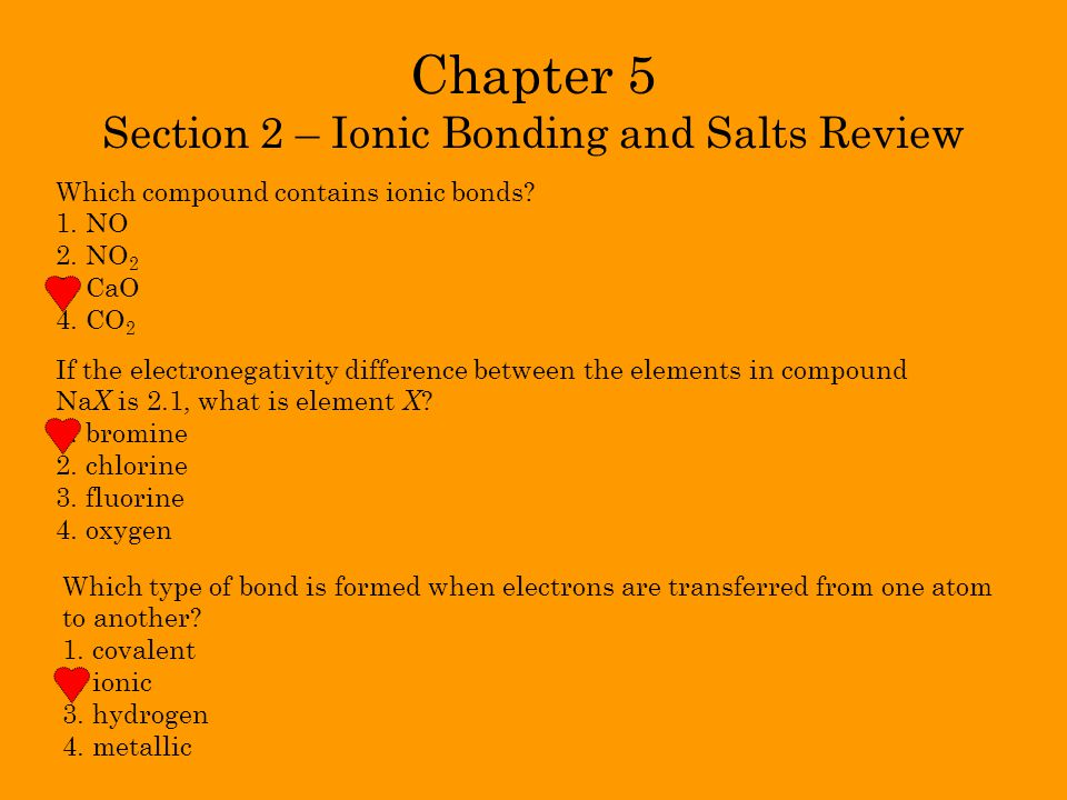 Chapter 5 Section 2 – Ionic Bonding and Salts Review
