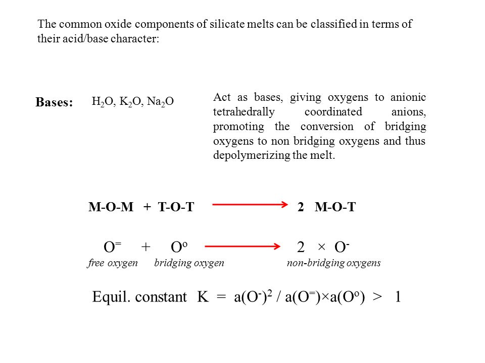 Equil. constant K = a(O-)2 / a(O=)×a(Oo) > 1