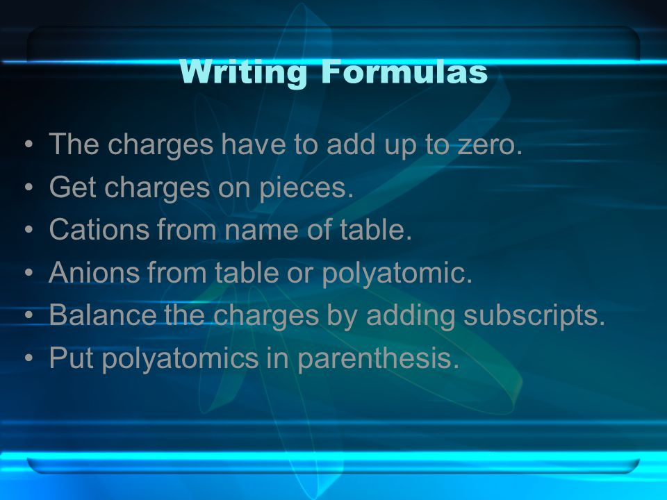 Writing Formulas The charges have to add up to zero.