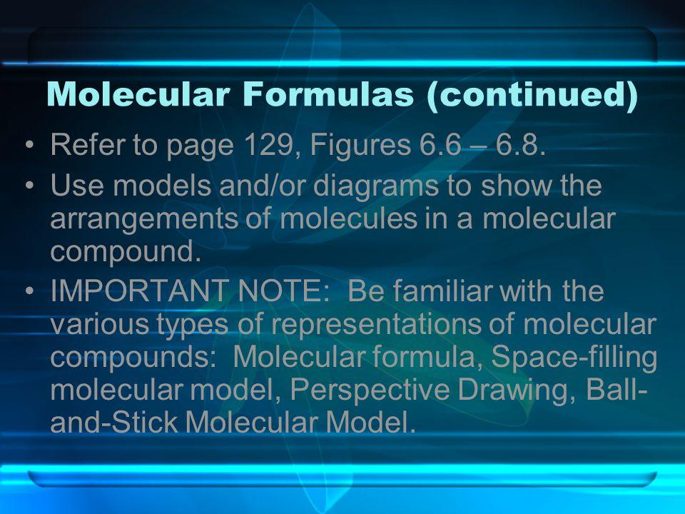 Molecular Formulas (continued)