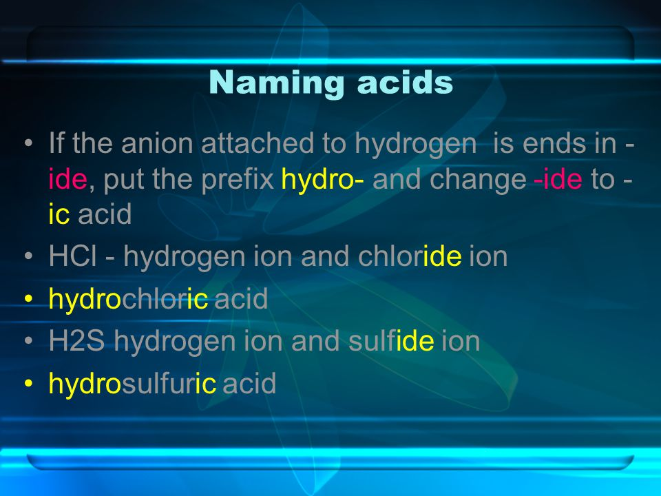 Naming acids If the anion attached to hydrogen is ends in -ide, put the prefix hydro- and change -ide to -ic acid.