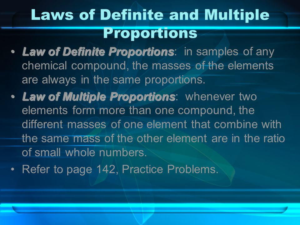 Laws of Definite and Multiple Proportions