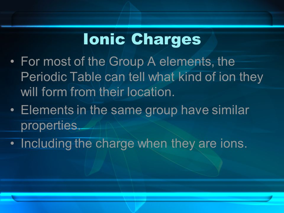 Ionic Charges For most of the Group A elements, the Periodic Table can tell what kind of ion they will form from their location.
