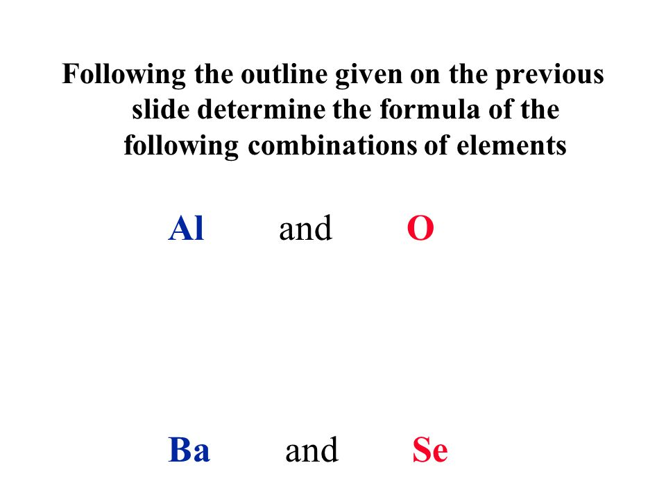Following the outline given on the previous slide determine the formula of the following combinations of elements