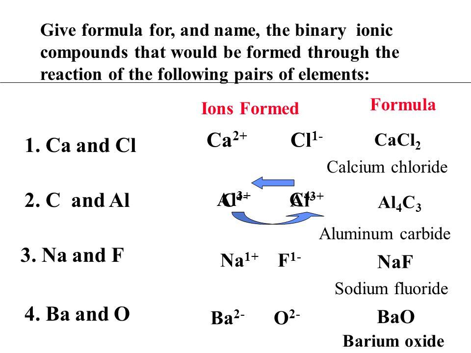 Ca2+ Cl1- 1. Ca and Cl 2. C and Al 3. Na and F 4. Ba and O Al3+ C4-