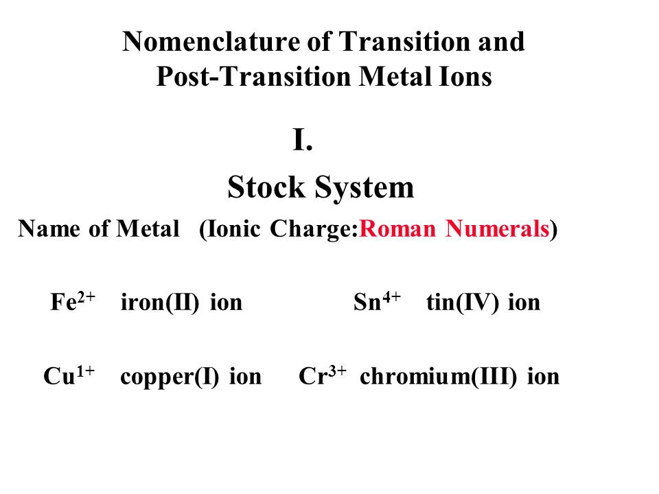 Nomenclature of Transition and Post-Transition Metal Ions