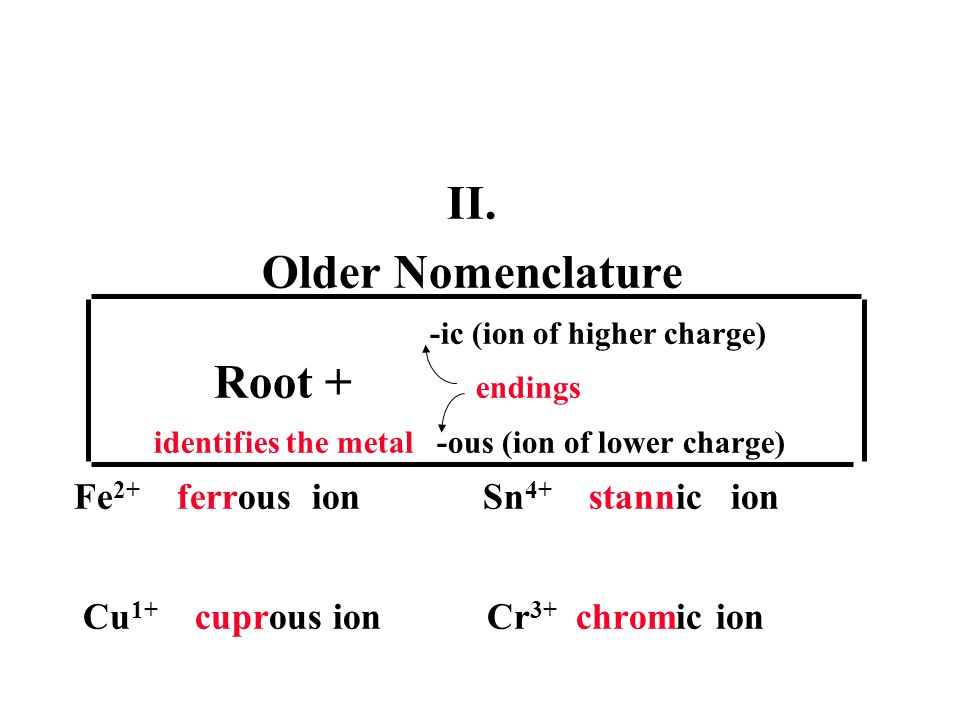 -ic (ion of higher charge) Root + endings