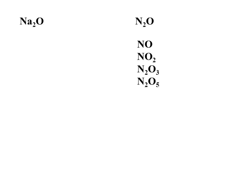 Na2O N2O NO NO2 N2O3 N2O5