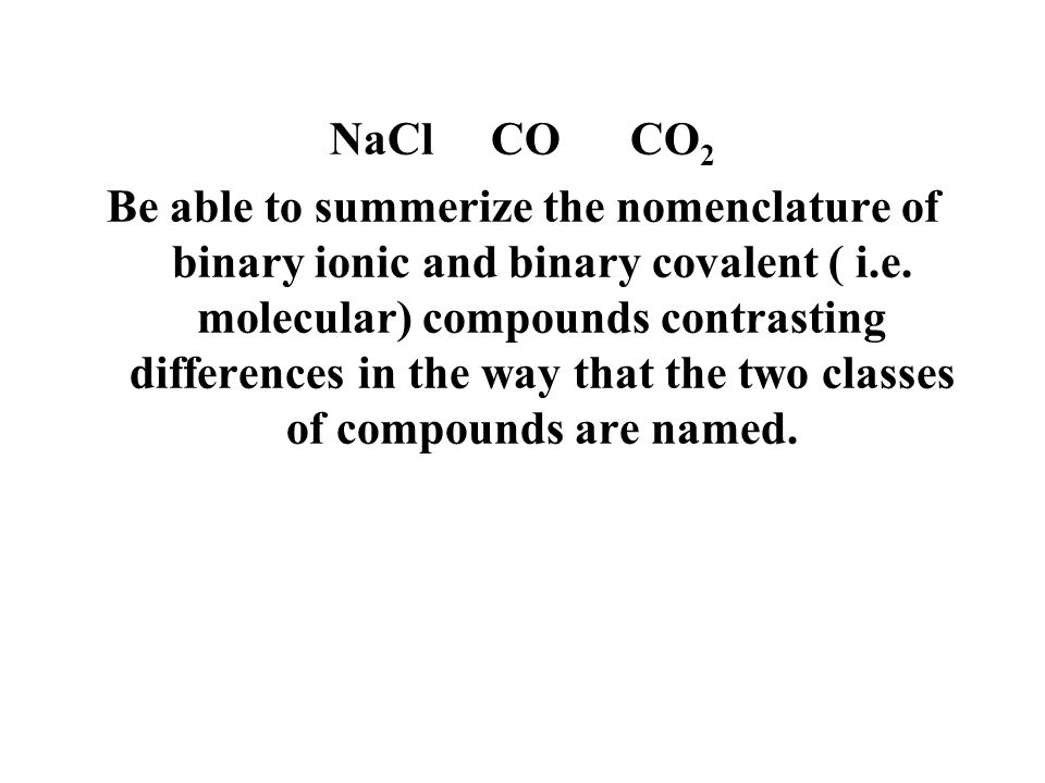 NaCl CO CO2
