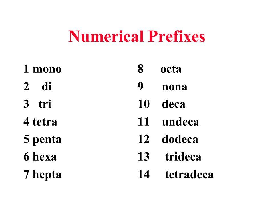 Numerical Prefixes 1 mono 8 octa 2 di 9 nona 3 tri 10 deca