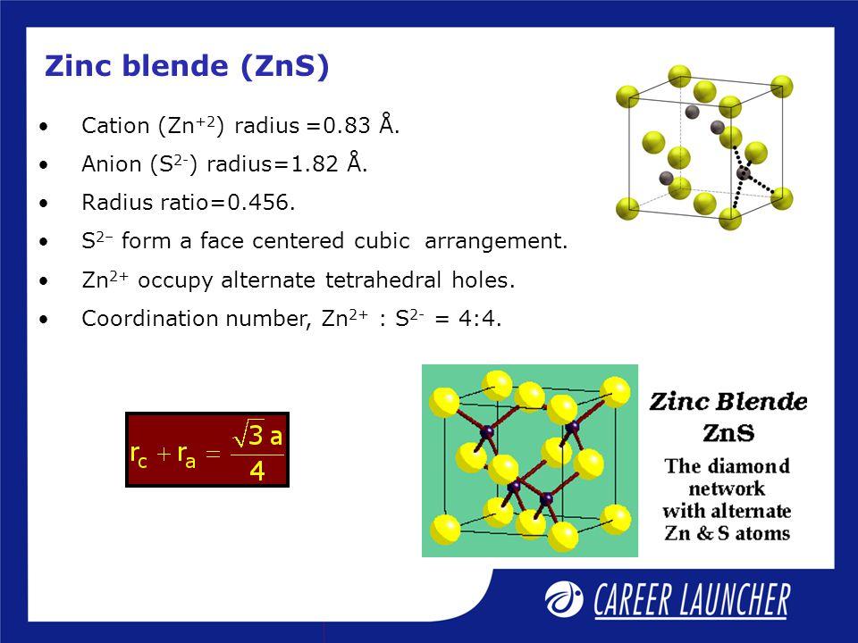 Zinc blende (ZnS) Cation (Zn+2) radius =0.83 Å.