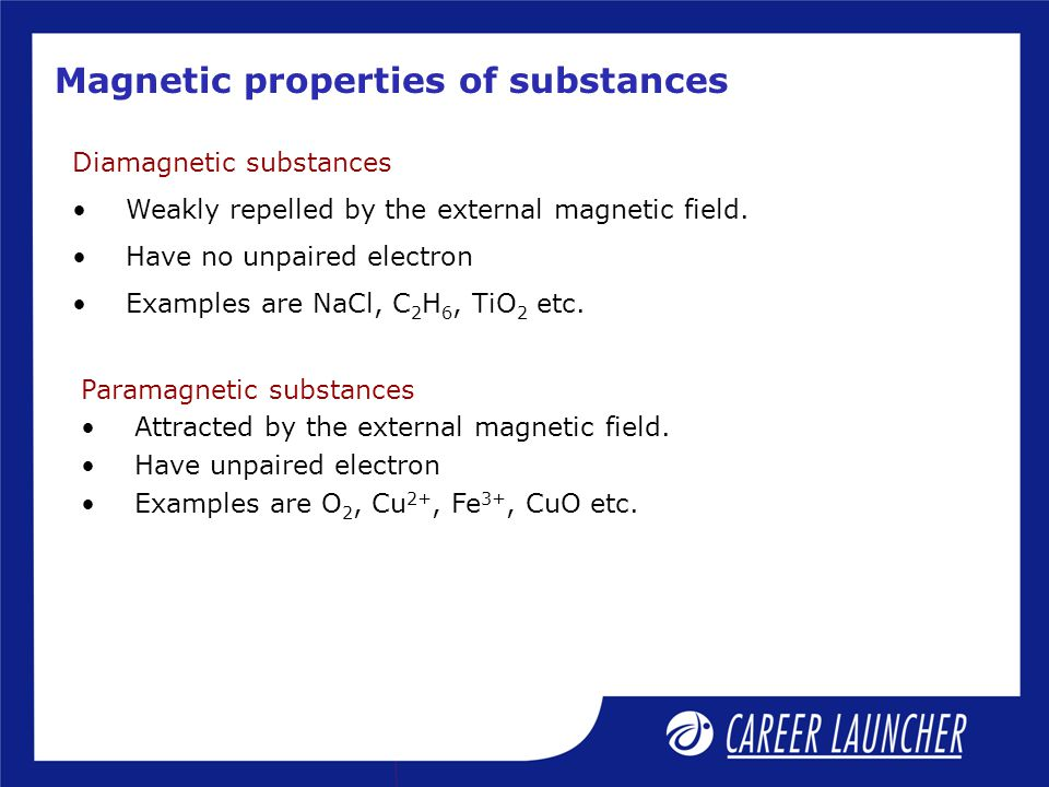 Magnetic properties of substances