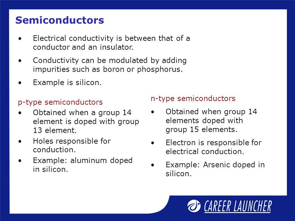 Semiconductors Electrical conductivity is between that of a conductor and an insulator.