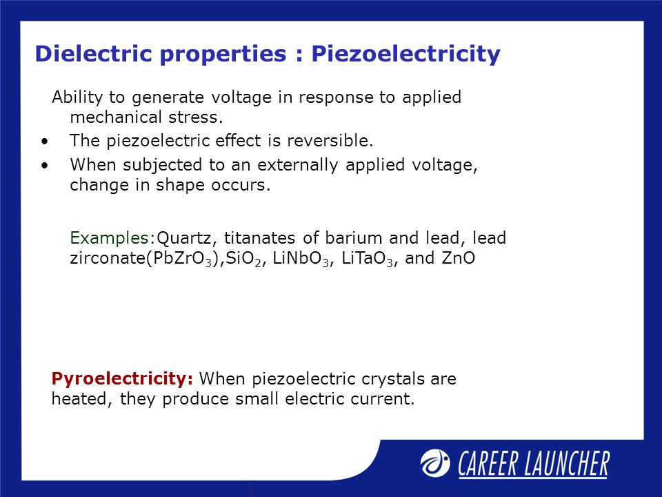 Dielectric properties : Piezoelectricity