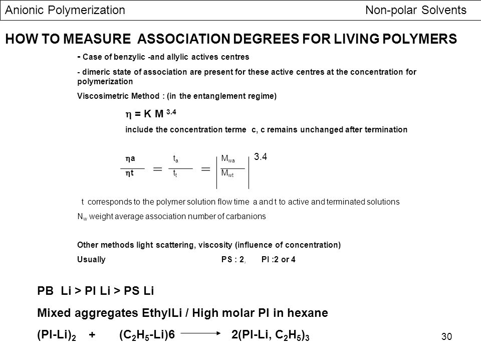= = HOW TO MEASURE ASSOCIATION DEGREES FOR LIVING POLYMERS