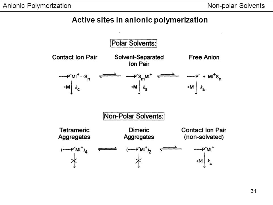 Active sites in anionic polymerization