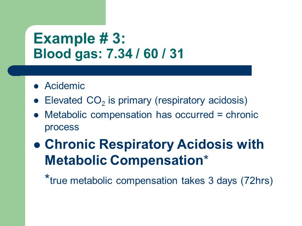 Example # 3: Blood gas: 7.34 / 60 / 31