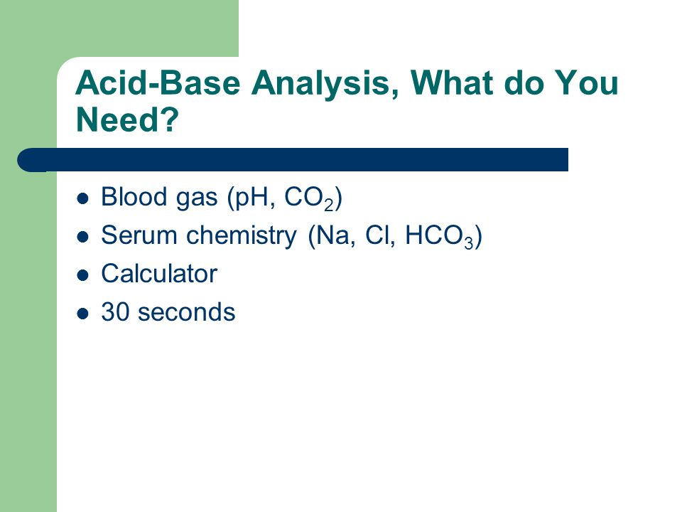 Acid-Base Analysis, What do You Need