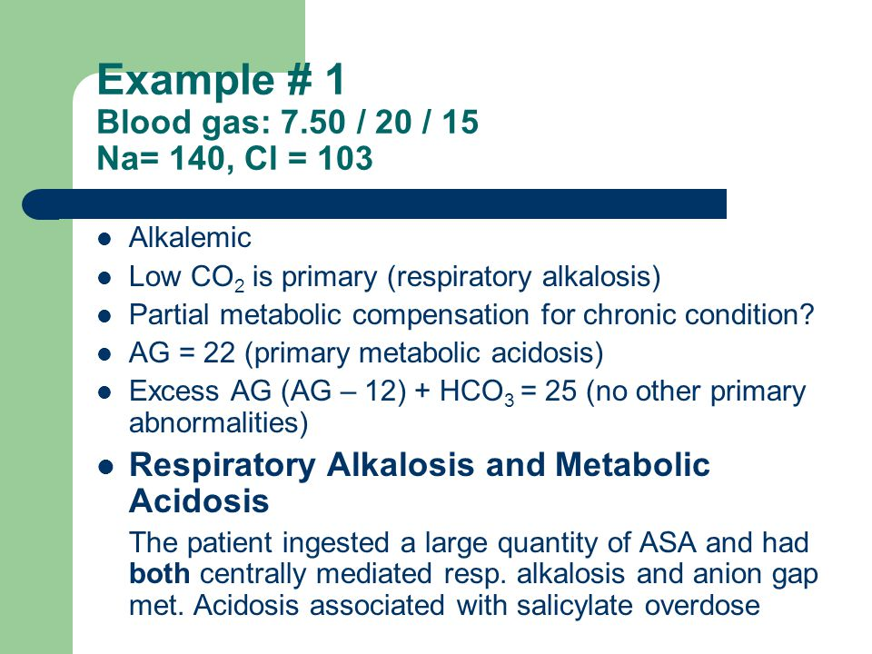 Example # 1 Blood gas: 7.50 / 20 / 15 Na= 140, Cl = 103