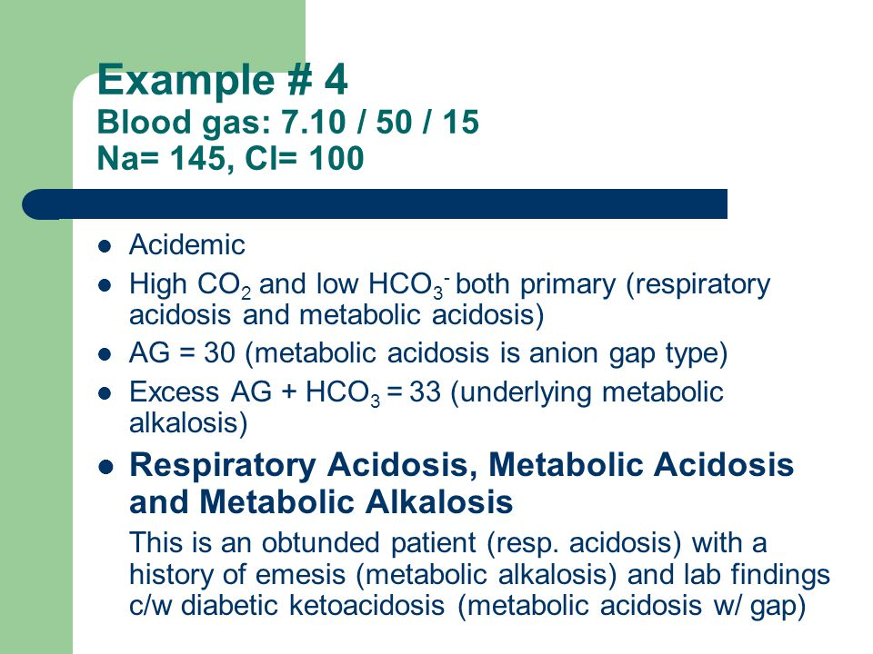 Example # 4 Blood gas: 7.10 / 50 / 15 Na= 145, Cl= 100