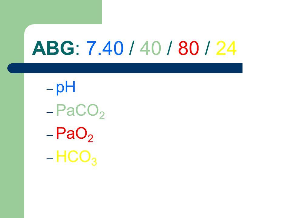 ABG: 7.40 / 40 / 80 / 24 pH PaCO2 PaO2 HCO3