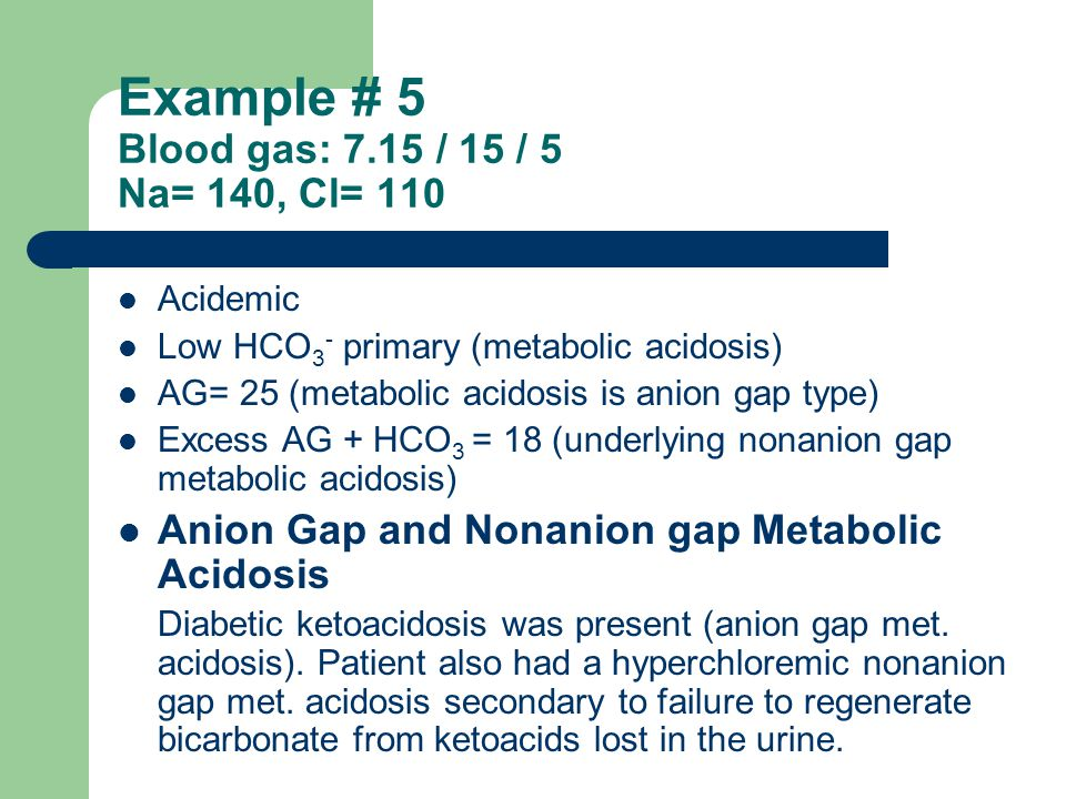 Example # 5 Blood gas: 7.15 / 15 / 5 Na= 140, Cl= 110