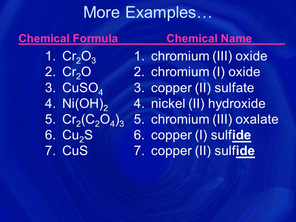 Chemical Formula Chemical Name